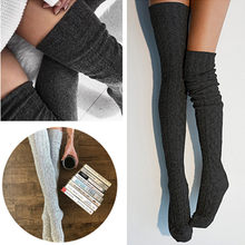 Women Over Knee Socks Fashion Female Sexy Stockings Warm Long Boot Knit Thigh-High Gray Black(China)