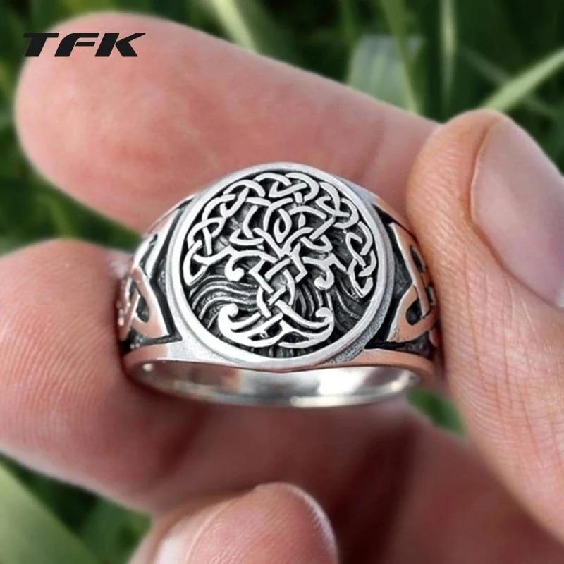 TFK Viking Tree of Life Yggdrasil Celtics Knotwork Ring Men