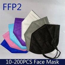 Masque buccal noir pour hommes et femmes, lot de 10 à 100 pièces, 5 couches, certifié kn95, ffp2, CE, fpp2, PM053