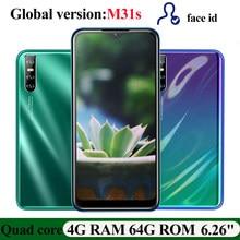 M31s 64G ROM Smartphones 4G RAM Wasser Tropfen Screen Globale Android handy Quad Core 6.26