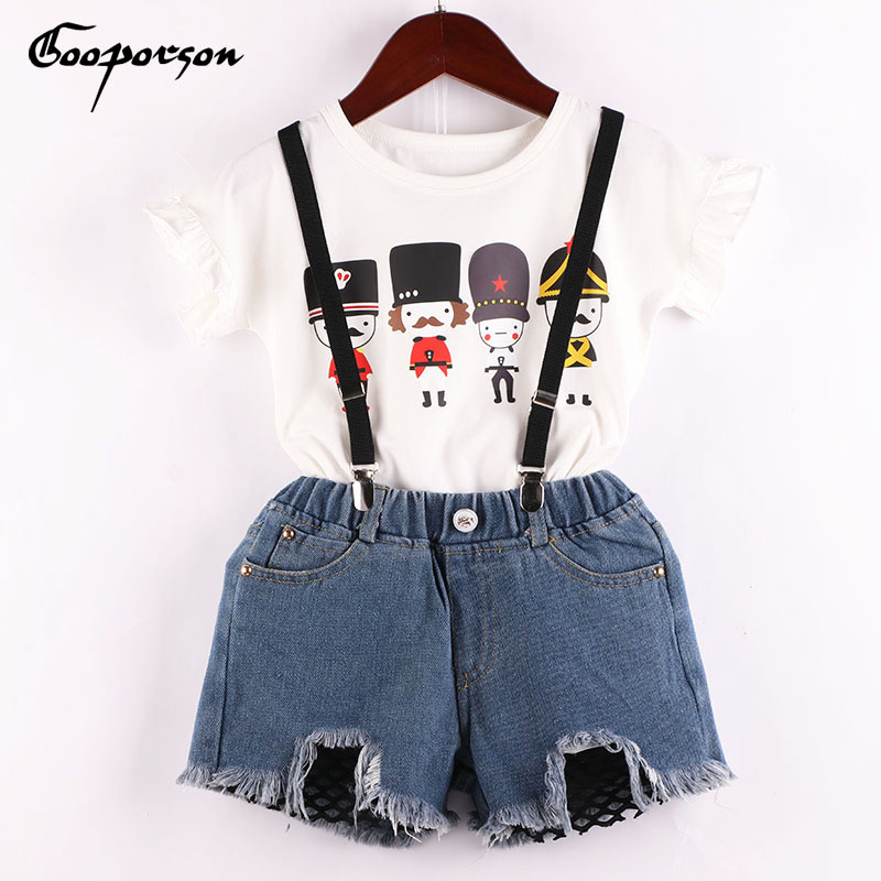 Girls Clothes Set Soldier Printed White Shirt And Jeans Shorts Overall Clothing Suit Summer Fashion Outfits Baby Kids Clothes 1