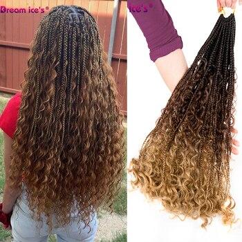 Synthetic Crochet Hair Messy Goddess Box Braids Hair Bohemian Hair With Curls 24inch Boho Braided Hair Extension Dream Ice's dream box