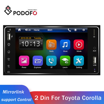 Podofo 2din Car Radio Android/IOS Link FM Car Multimedia Player 2 DIN autoradio For Toyota Corolla Universal 2din Auto Stereo image