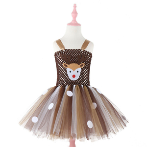 Moeble Christmas Deer Tutu Dress Baby Girls Birthday Party Dresses Purim Halloween Winter Cosplay Costume Clothes For Kids 1933(China)