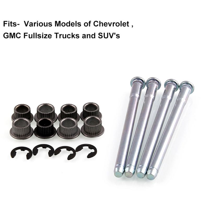Door Hinge Pins 2 Door 4Pins Bushing Kit for 88-02 Chevy GMC Fullsize Truck SUV