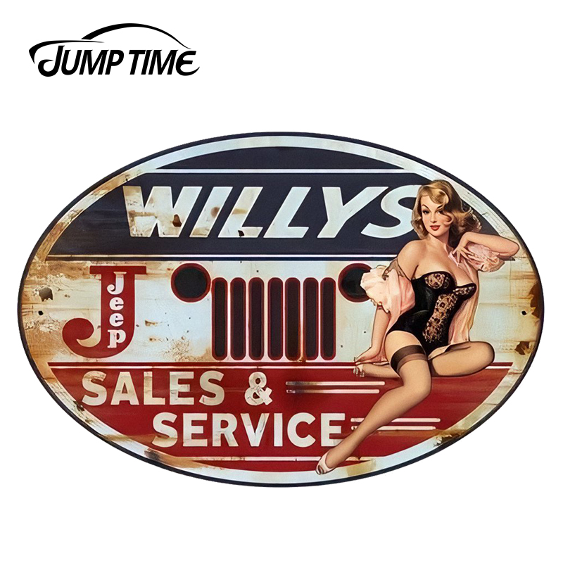 JumpTime 13cm X 8.7cm 3D Car Styling Wiilly's Sales Service Hot Pinup Girl Car Window Decal JDM Car Stickers Sexy Graphic