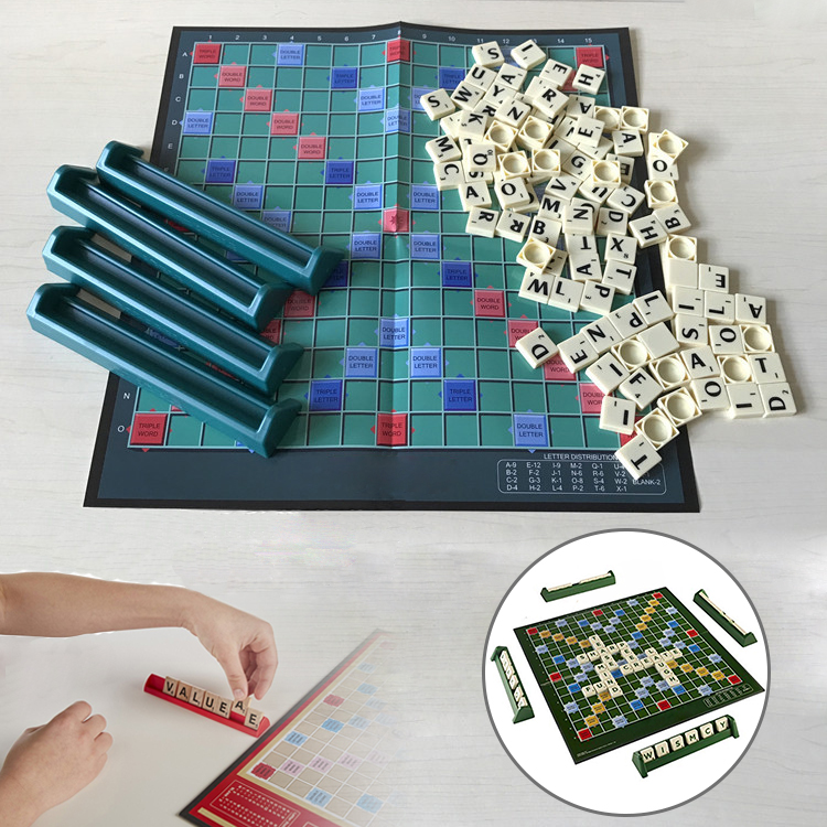 English Scrabble Board Game Crossword Spelling Game For Kids English Puzzles Board Spelling Table Jigsaw