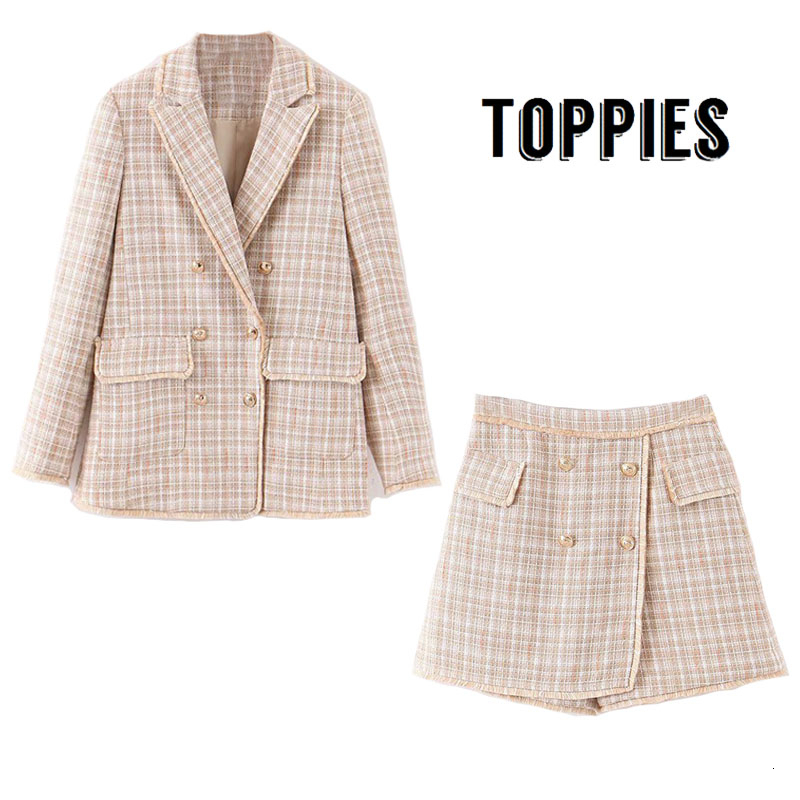 2019 Winter Suit Set Women Office Two Piece Set Vintage Tweed Tassel Jacket Blazer Double Breasted Shorts Skirts