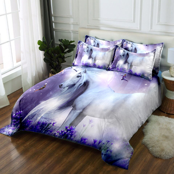 Custom Bedding Duvet Cover set Cartoon Dreamy White Horse Pattern Single Bedding set for Child Room Soft Quilt Cover Pillowcase