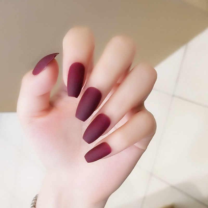 Uñas Postizas Cortas De Color Rojo Vino Matte Atf Faux