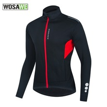 WOSAWE Reflective Men's Cycling Winter Jacket Long Sleeve Polyester Windproof Thermal Fleece Riding Bike Bicycle MTB Jersey