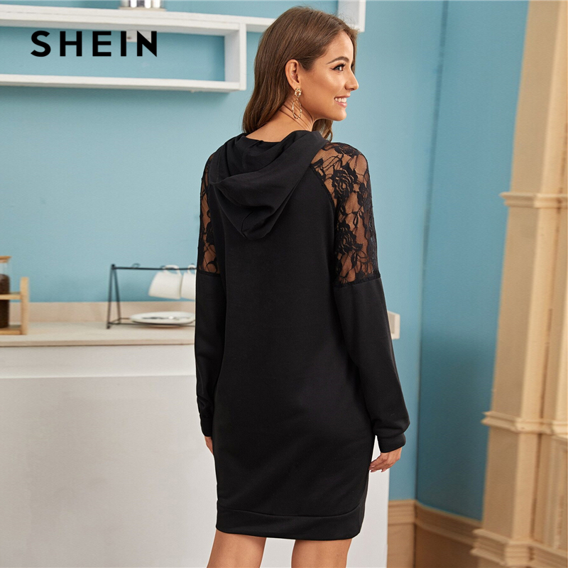 SHEIN Contrast Lace Casual Hooded Sweatshirt Dress Womens Clothing Spring Streetwear Solid Long Sleeve Ladies Short Dresses 2