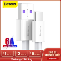 Baseus 6A cavo USB tipo C 66W ricarica rapida per Huawei Mate 40 P40 Samsung Xiaomi USB C cavo dati ricarica rapida cavo 2m