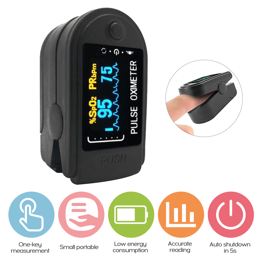 OLED Display Fingertip Oximeter B-lood Oxygen SpO2 Pulse Rate Monitor Portable Family Travel Oximeter Care For Body Health