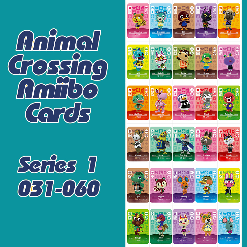 New Horizons Animal Crossing  Amiibo Card For NS Switch 3DS Game Lobo Card Set Series 1 (031-060)