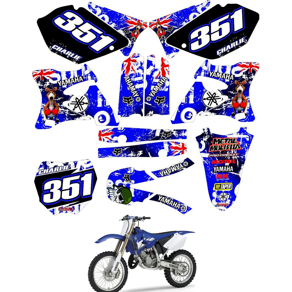 For YAMAHA YZ125 YZ250 YZ 125 250 2002 - 2014 Graphics Decals Stickers Custom Number Name 3M Motorcycle Backgrounds Accessories