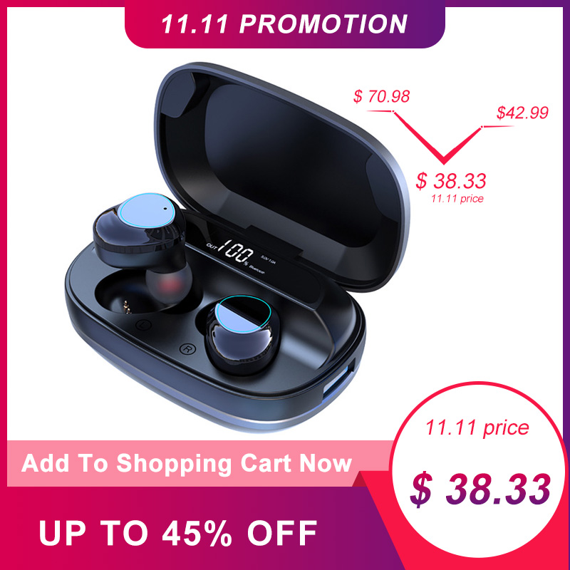 TWS G16 Bluetooth Earphone 5.0 Touch Control True Wireless Earbuds Stereo Waterproof Noise Cancelling Binaural Headset 6h Music