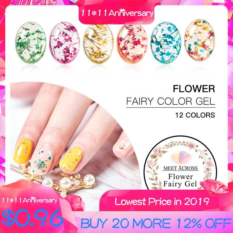 MEET ACROSS Floral UV Gel Varnish Dried Flowers Lucky Fairy Gel Polish 5ML Semi-permanent UV Soakoff Gel Nail Design Natural Gel