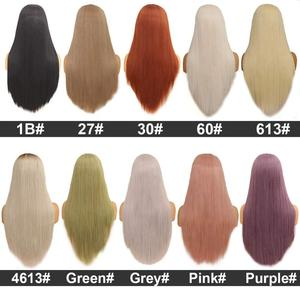 Image 5 - Leeven 24 Silky Straight Hair Synthetic Lace Front Wig 613 Blonde Wigs For Woman Pink Copper Ginger Cosplay Wigs Baby Hair