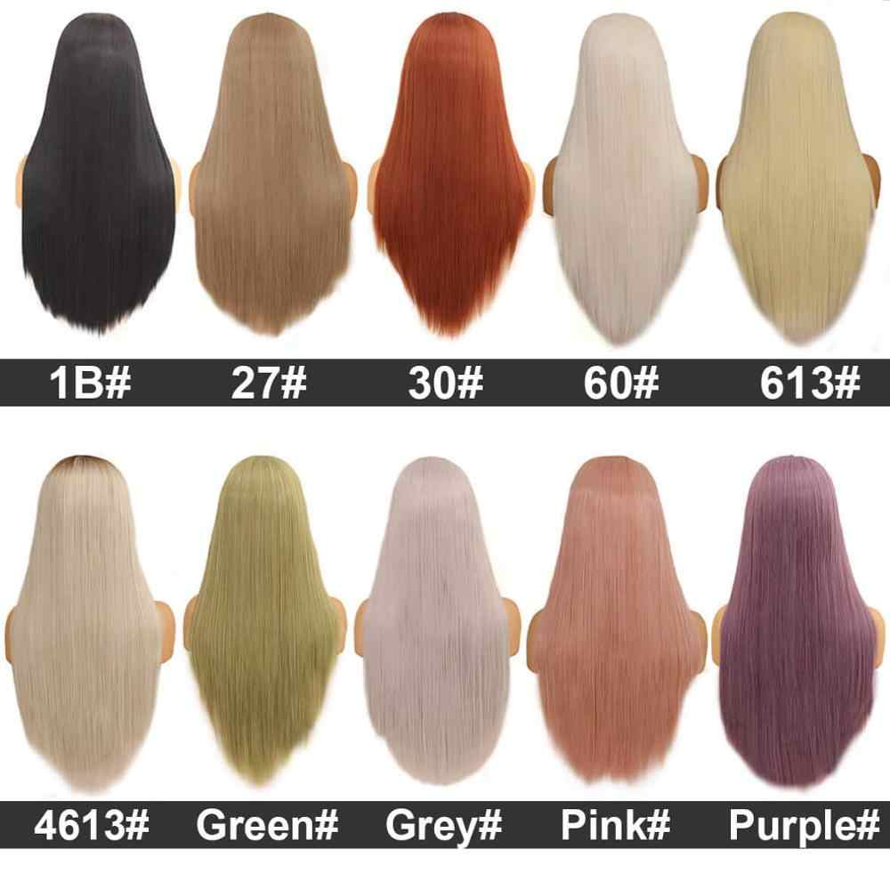 Leeven 24 cal proste jedwabne włosy syntetyczna koronka peruka front 613 peruki blond dla kobiety czarny różowy miedzi imbir peruki