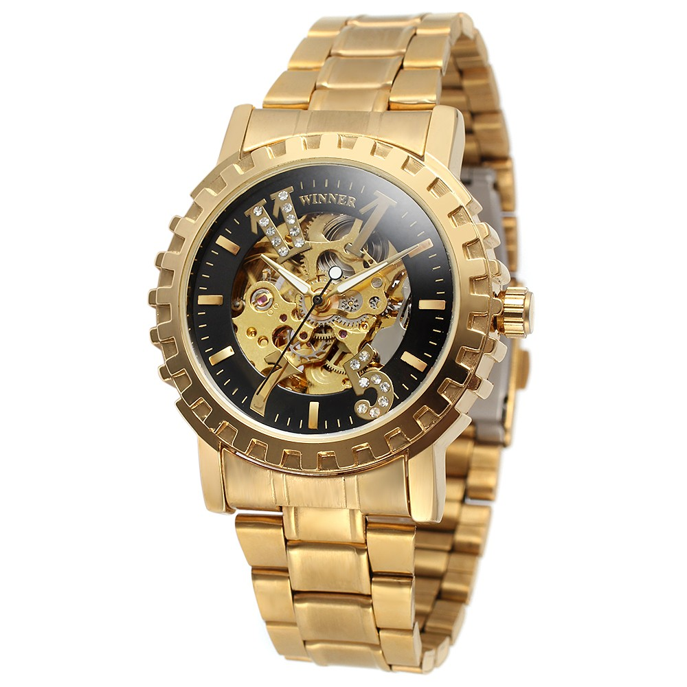 WINNER Brand Skeleton Automatic Mechanical Watches Gold Silver Unisex Stainless Steel Men Women Wristwatch  Relogio Releges