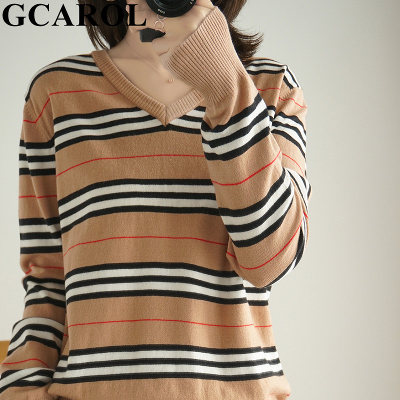 GCAROL 2020 New V Neck Women Stripes 30% Wool Sweater Stretch Streetwear Breathable Minimalist Knit Jumper Render Knit Tops 2XL