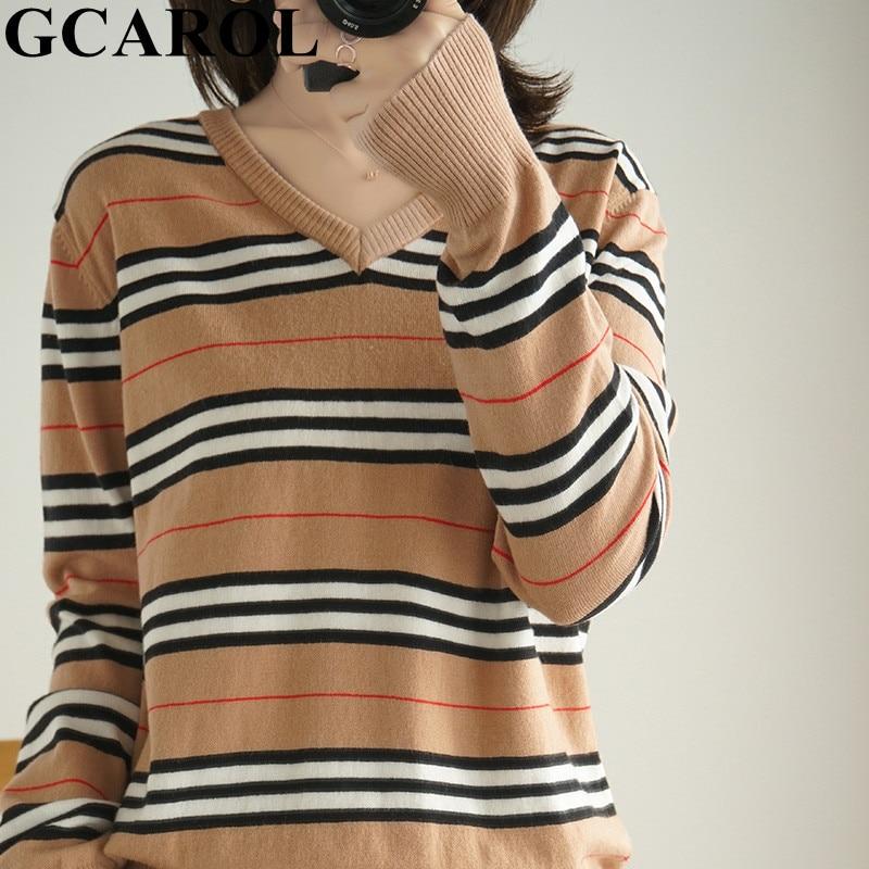 GCAROL 2020 New V Neck Women Stripes 30% Wool Sweater Stretch Streetwear Breathable Minimalist Knit Jumper Render Knit Tops 2XL