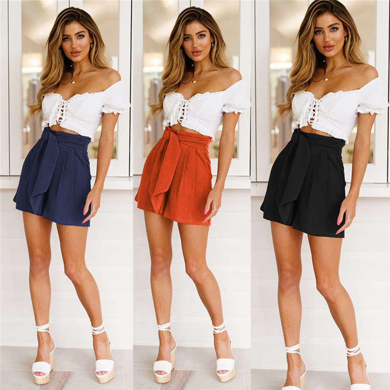 Women Summer Hot Stylish Shorts Belt Beach High Waist Shorts Casual Stretch Ladies Hotpants