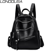 New Womens Backpack High Quality Soft Leather School Bags For Teenager Girls Mochila Mujer Zipper Shoulder Bags For Women 2019