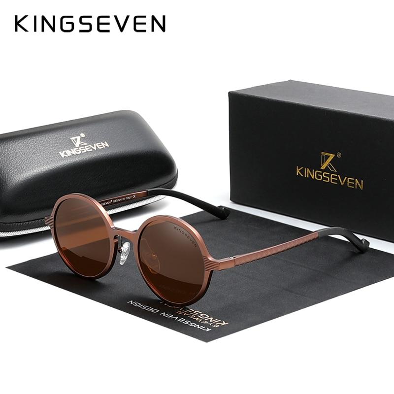 Genuine KINGSEVEN Aluminum Steampunk Round Sunglasses 2020 New Luxury Brand Design Vintage Women Sun Glasses UV400
