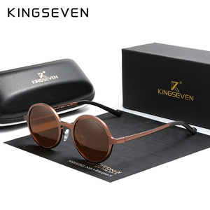 Genuine KINGSEVEN Aluminum Steampunk Round Sunglasses 2020 New Luxury Brand Design Vintage Women Sun Glasses UV400