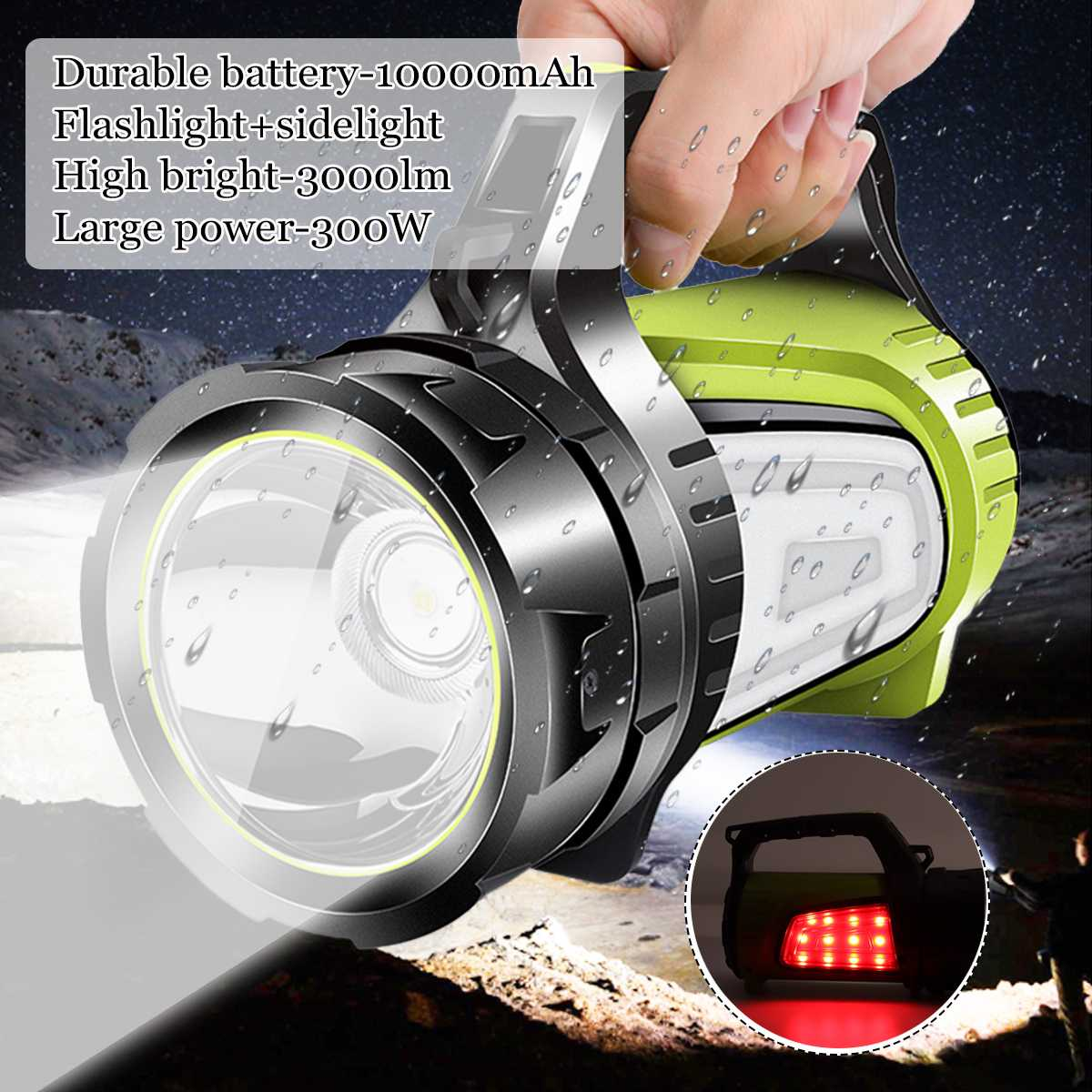 200/300/500W Bright Powerful LED Searchlight Handheld Flashlight Power Bank Rechargeable Battery Waterproof Torch For Outdoor