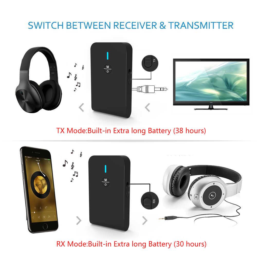 AptX krótki czas oczekiwania 5.0 nadajnik bluetooth odbiornik Audio 2 w 1 adapter bezprzewodowy dla telewizor samochodowy głośnik do komputera słuchawki 3.5MM Aux Jack