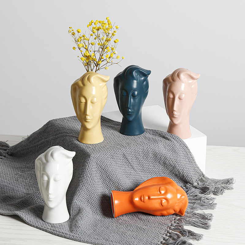 Ceramic Vase Nordic Home Decoration Flower Pots Living Room Decoration Modern Abstract Human Face Sculpture Statue Ornaments Just6F