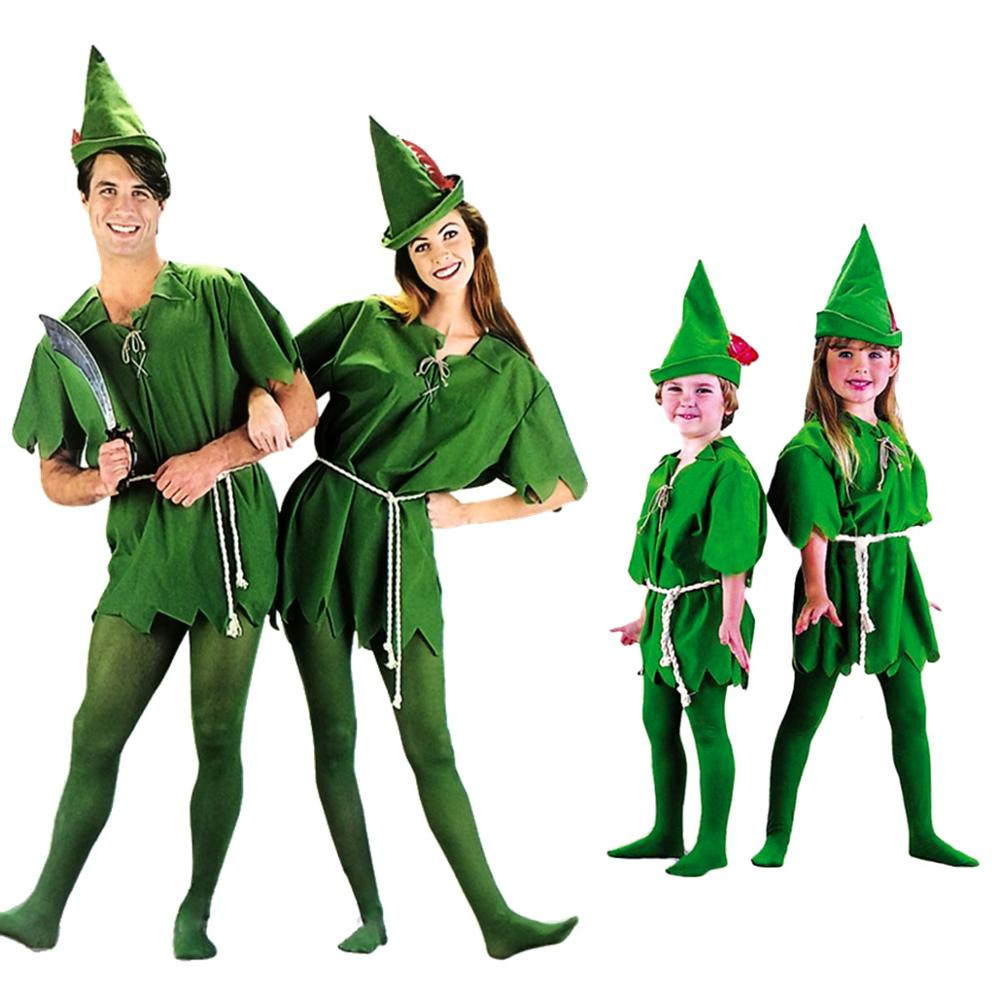 Umorden Peter Pan Costume Child Kids Boys Girls Peter Pan Costumes For Women Men St. Patricks Day Cosplay With Stockings