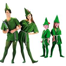 цена на Umorden Peter Pan Costume Child Kids Boys Girls Peter Pan Costumes for Women Men St. Patricks Day Cosplay with Stockings