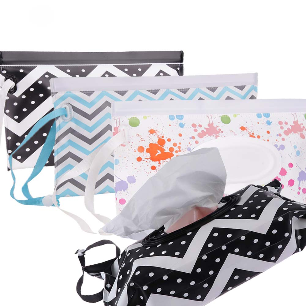 Eco-friendly Easy-carry Wet Wipes Bag Snap Strap Wipes Container Clamshell Cosmetic Pouch Cleaning Wipes Case Durable Mummy Bags