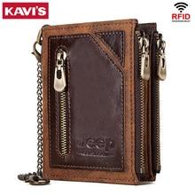 KAVIS Rfid 100% Genuine Leather Wallet Men Portomonee  Card Holder Coin Purse Small Male Money Bag Quality Mini crazy Horse