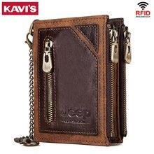 KAVIS Rfid 100% กระเป๋าสตางค์หนังแท้ผู้ชายPortomoneeกระเป๋าสตางค์ชายเล็กเงินกระเป๋าMini Crazy Horse
