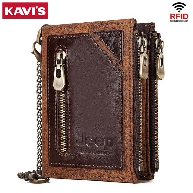 KAVIS Rfid 100% portfel ze skóry naturalnej mężczyźni Portomonee posiadacz karty monety kiesy mały męski portfel jakości Mini crazy Horse