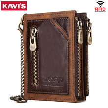Kavis rfid 100% 本革財布男性portomoneeカードホルダーコイン財布小さな男性マネーバッグ品質ミニ狂気の馬
