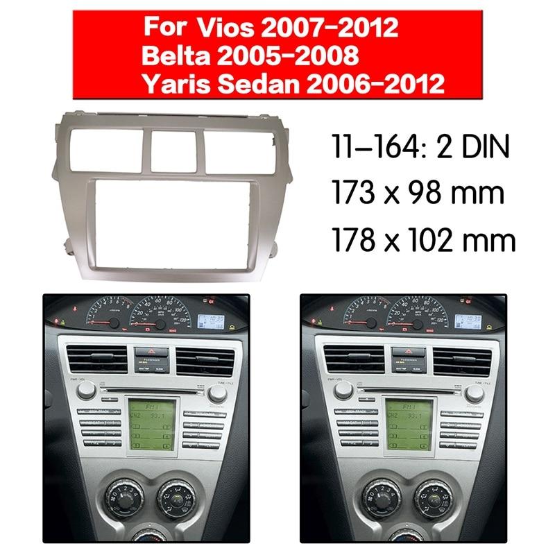 2 DIN Car Stereo Radio DVD Player Frame Fascia Panel Trim for Toyota Vios 2007-2012, Belta 2005-2008, Yaris Sedan 2006+