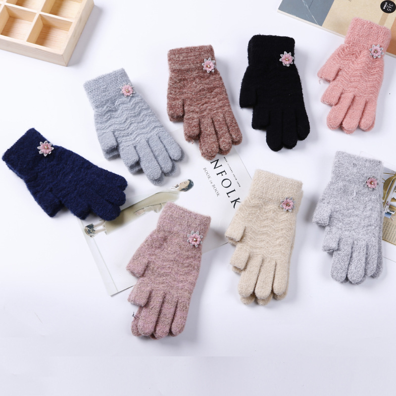2 Low Fingers Warm Outdoor Protector Finger For Winter Luvas Guantes Knitted Gloves Leaky Finger Glove