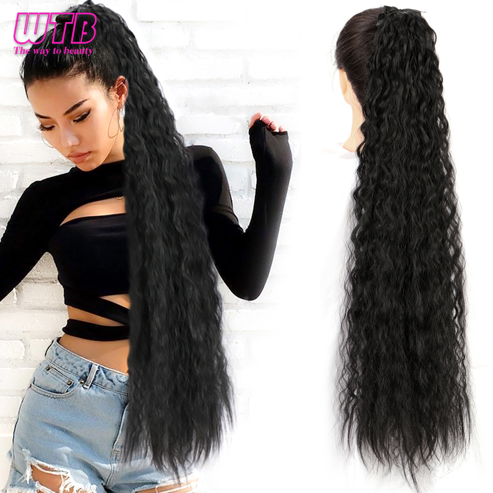 WTB супер длинные прямые синтетические волосы на шнурке для конского хвоста высокотемпературные волоконные удлинители волос на клипсе конс...