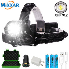 LED Headlamp XHP70.2 powerful V6 head light 80000LM USB Rechargeable Zoomable Waterproof Outdoor Camping Super bright Headlight