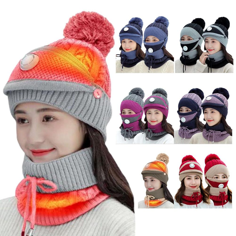 Heated Hat With Neck Warmer USB Heating Knitted Hat For Men Women