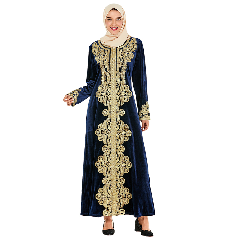 Siskakia Muslim Abaya Dress Luxury Velvet Vintage Golden Embroidery Dubai Robes Turkey Moroccan Dresses Party Wears Ramadan