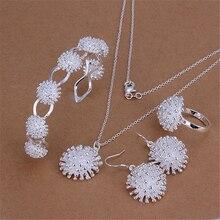 Мода 925 Ювелирный Набор Серебряный Жесткий браслет с цветком ожерелье серьги кольцо для женщин Ensemble de bijoux 4 шт набор заводская цена