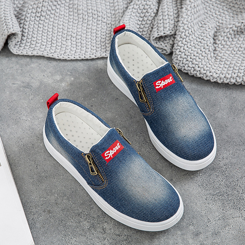 Casual Women Sneakers Canvas Shoes Zipper Slip-on Denim Shoes Woman Soft Fashion Chunky Sneakers Large Size 43/44 Female Tennis