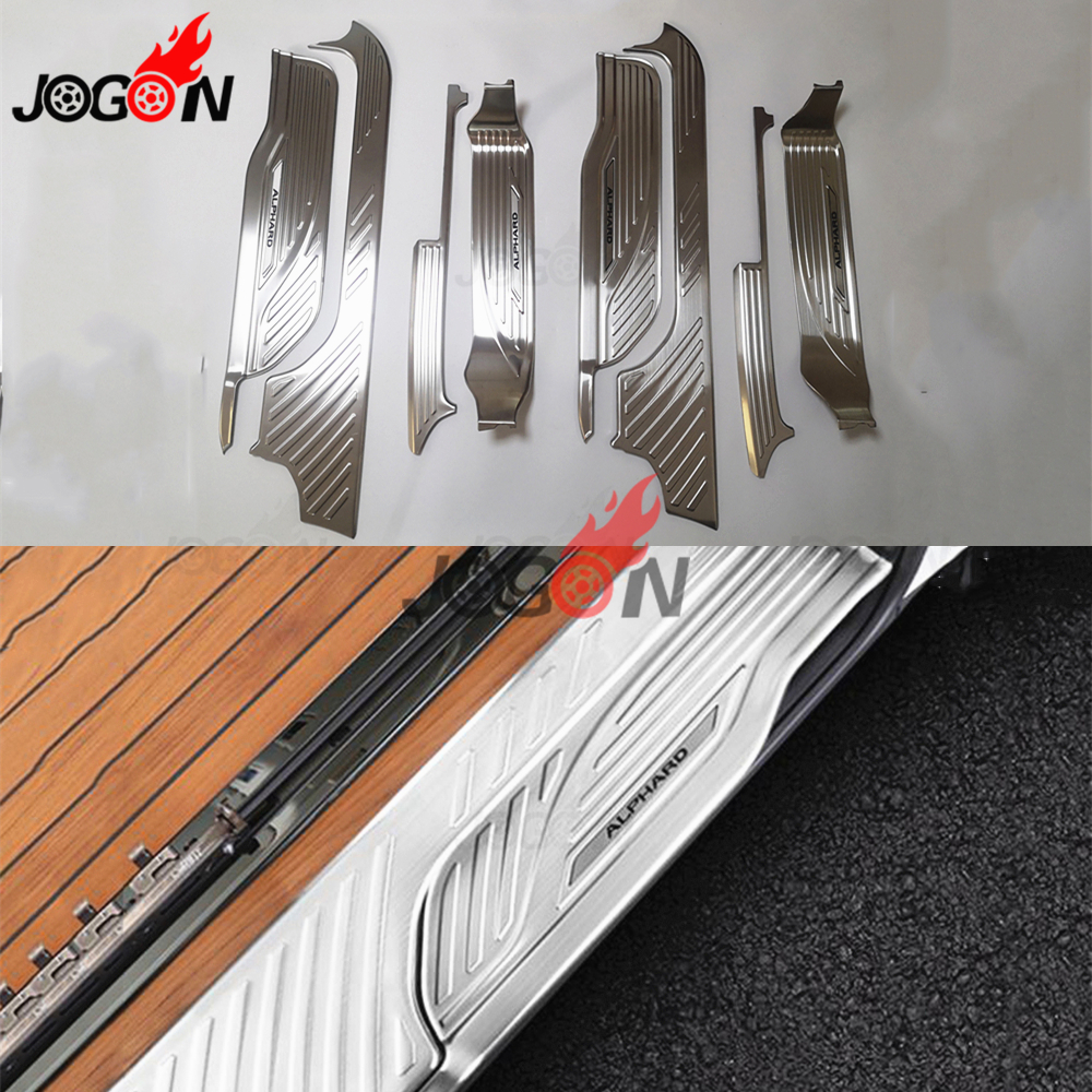 For Toyota Alphard Vellier ANH30 2016 2017 8pcs Stainless Steel Interior Car Door Sill Scuff Step Protector Cover Trim